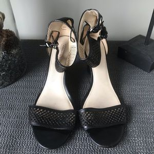 Coach Gabbie Black Strappy Wedge Heeled Shoes